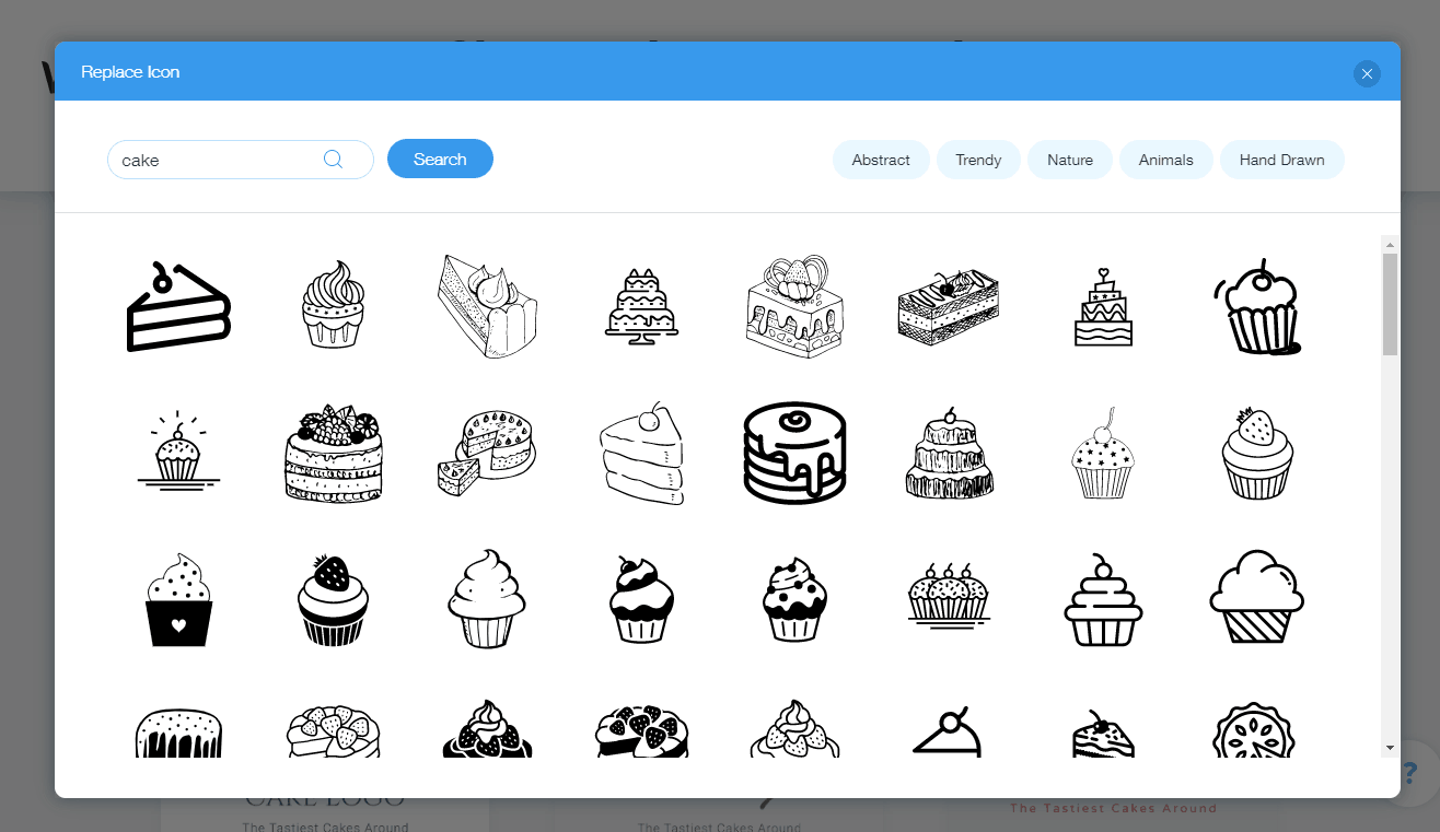 Wix Logo Maker screenshot - Mga icon ng cake